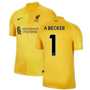 Liverpool 2021-2022 Home Goalkeeper Shirt (University Gold) - Kids (A Becker 1)