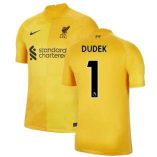 Liverpool 2021-2022 Home Goalkeeper Shirt (University Gold) - Kids (Dudek 1)
