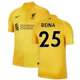 Liverpool 2021-2022 Home Goalkeeper Shirt (University Gold) - Kids (Reina 25)