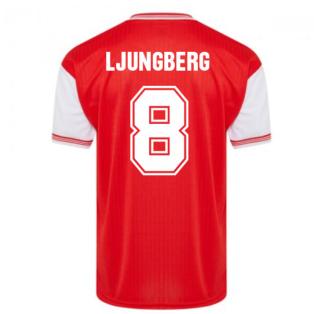 Score Draw Arsenal 1985 Centenary Retro Football Shirt (LJUNGBERG 8)