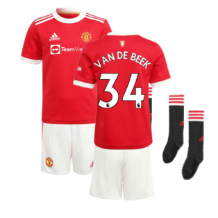 Man Utd 2021-2022 Home Mini Kit (VAN DE BEEK 34)