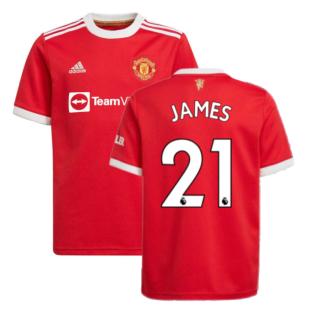 Man Utd 2021-2022 Home Shirt (Kids) (JAMES 21)