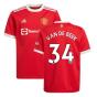 Man Utd 2021-2022 Home Shirt (Kids) (VAN DE BEEK 34)