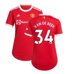 Man Utd 2021-2022 Home Shirt (Ladies) (VAN DE BEEK 34)