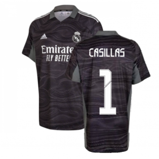 Real Madrid 2021-2022 Home Goalkeeper Shirt (Black) - Kids (CASILLAS 1)