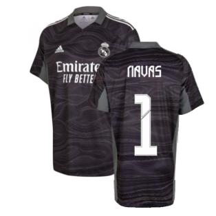 Real Madrid 2021-2022 Home Goalkeeper Shirt (Black) - Kids (NAVAS 1)