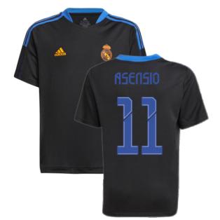 Real Madrid 2021-2022 Training Shirt (Black) - Kids (ASENSIO 11)