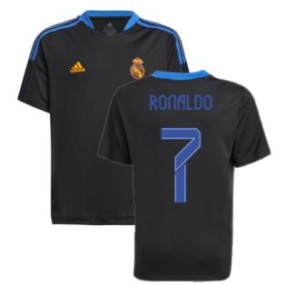 Real Madrid 2021-2022 Training Shirt (Black) - Kids (RONALDO 7)
