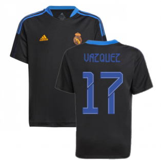 Real Madrid 2021-2022 Training Shirt (Black) - Kids (VAZQUEZ 17)