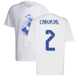 Real Madrid 2021-2022 Training Tee (White-Blue) (CARVAJAL 2)