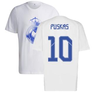 Real Madrid 2021-2022 Training Tee (White-Blue) (PUSKAS 10)