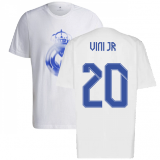 Real Madrid 2021-2022 Training Tee (White-Blue) (VINI JR 20)
