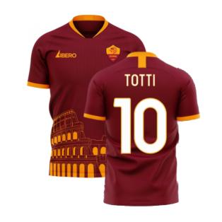 Roma 2020-2021 Home Concept Football Kit (Libero) - No Sponsor (TOTTI 10)