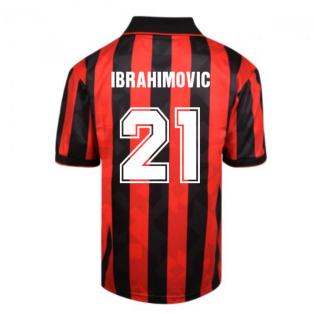 Score Draw AC Milan 1994 Retro Football Shirt (Ibrahimovic 21)