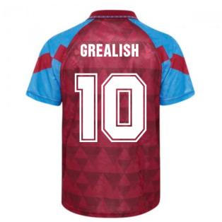 Score Draw Aston Villa 1990 Retro Football Shirt (Grealish 10)