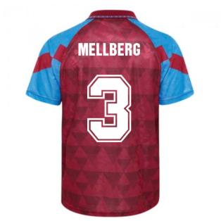 Score Draw Aston Villa 1990 Retro Football Shirt (Mellberg 3)
