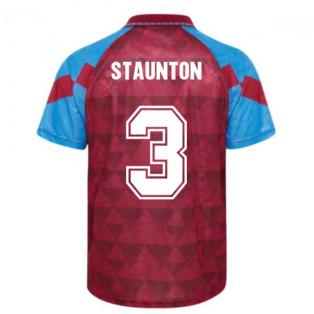 Score Draw Aston Villa 1990 Retro Football Shirt (Staunton 3)