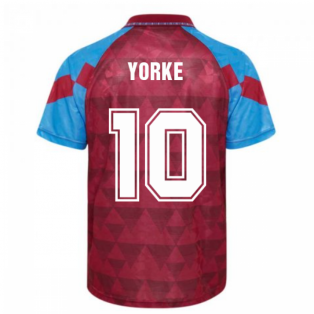 Score Draw Aston Villa 1990 Retro Football Shirt (Yorke 10)