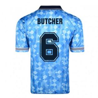 Score Draw England 1990 Third World Cup Finals Retro Football Shirt (Butcher 6)