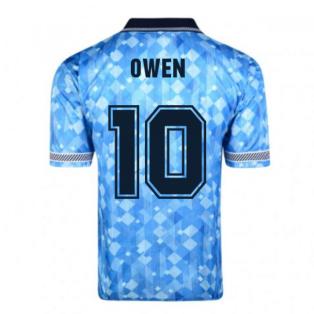 Score Draw England 1990 Third World Cup Finals Retro Football Shirt (OWEN 10)