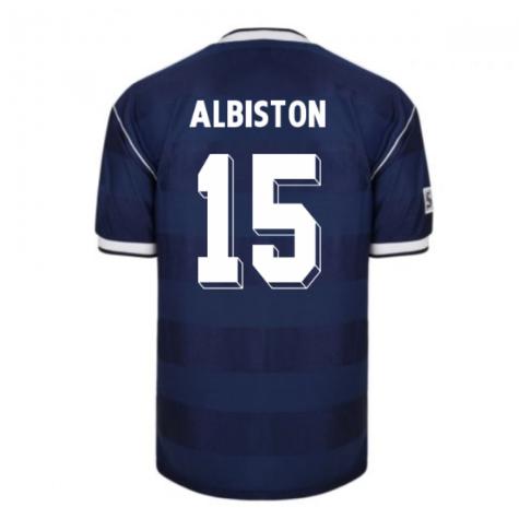 Score Draw Scotland 1986 Retro Football Shirt (Albiston 15)