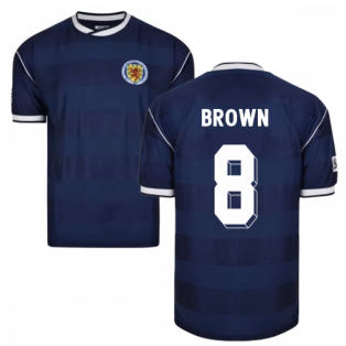 Score Draw Scotland 1986 Retro Football Shirt (Brown 8)