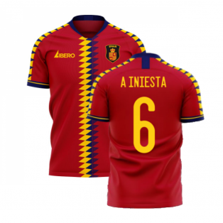 Spain 2020-2021 Home Concept Football Kit (Libero) (A INIESTA 6)