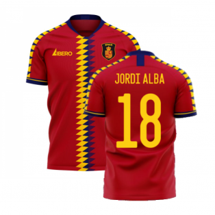 Spain 2020-2021 Home Concept Football Kit (Libero) (JORDI ALBA 18)