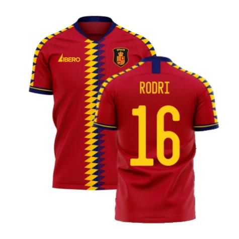Spain 2020-2021 Home Concept Football Kit (Libero) (RODRI 16)