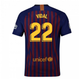 2018-2019 Barcelona Vapor Match Home Nike Shirt (Vidal 22)