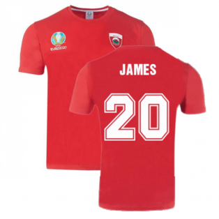 Wales 2021 Polyester T-Shirt (Red) (JAMES 20)