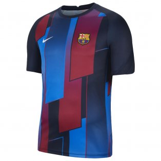 2021-2022 Barcelona Pre-Match Training Shirt (Blue) - Kids