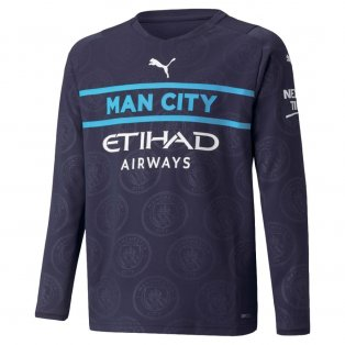 2021-2022 Man City Long Sleeve 3rd Shirt (Kids)