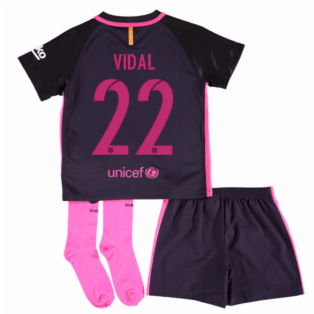 2016-17 Barcelona Away Baby Kit (Vidal 22)