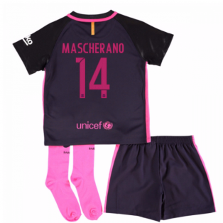 2016-17 Barcelona Away Little Boys Mini Kit (With Sponsor) (Mascherano 14)