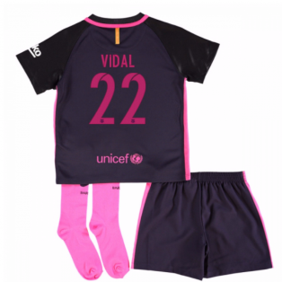 2016-17 Barcelona Away Little Boys Mini Kit (With Sponsor) (Vidal 22)