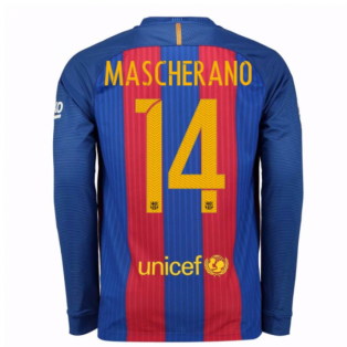 2016-17 Barcelona Home Long Sleeve Shirt (Mascherano 14)
