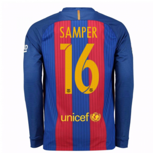 2016-17 Barcelona Home Long Sleeve Shirt (Samper 16)