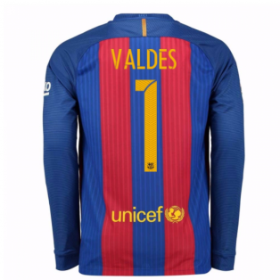 2016-17 Barcelona Home Long Sleeve Shirt (Valdes 1)