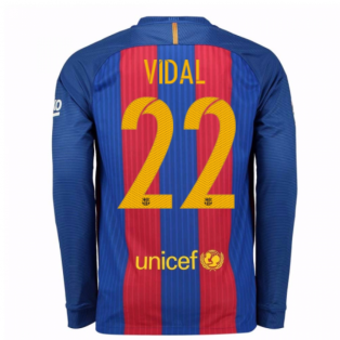 2016-17 Barcelona Home Long Sleeve Shirt (Vidal 22)