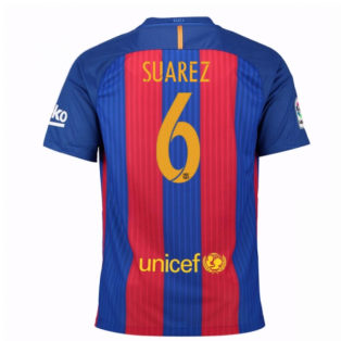 2016-17 Barcelona Sponsored Home Shirt (Dennis Suarez 6) - Kids