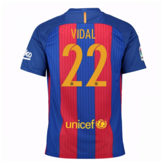 2016-17 Barcelona Sponsored Home Shirt (Vidal 22) - Kids