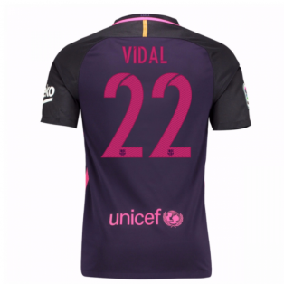 2016-17 Barcelona With Sponsor Away Shirt - (Kids) (Vidal 22)