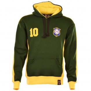 Brazil Number 10 Green Retro Hoodie