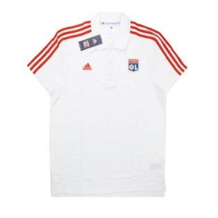2015-2016 Lyon Adidas 3 Stripe Polo T-Shirt (White)