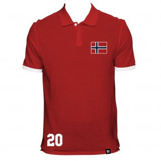 Norway No 20 Red Polo Shirt