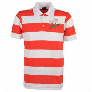 Japan Rugby Polo Shirt - Red/White Stripe