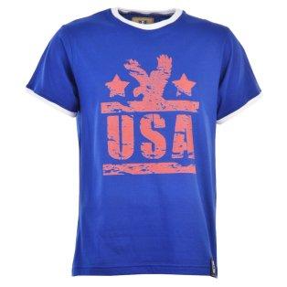USA T-Shirt - Royal/White Ringer