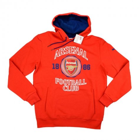 2014-15 Arsenal Puma Fan Hooded Sweat Top (Red)