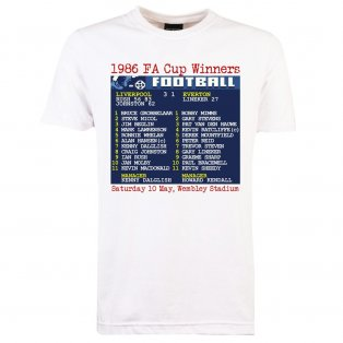 1986 FA Cup Final (Liverpool) Retrotext T-Shirt - White